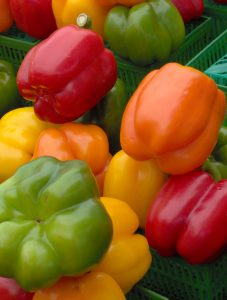 Bell peppers for sale at a farmer's market